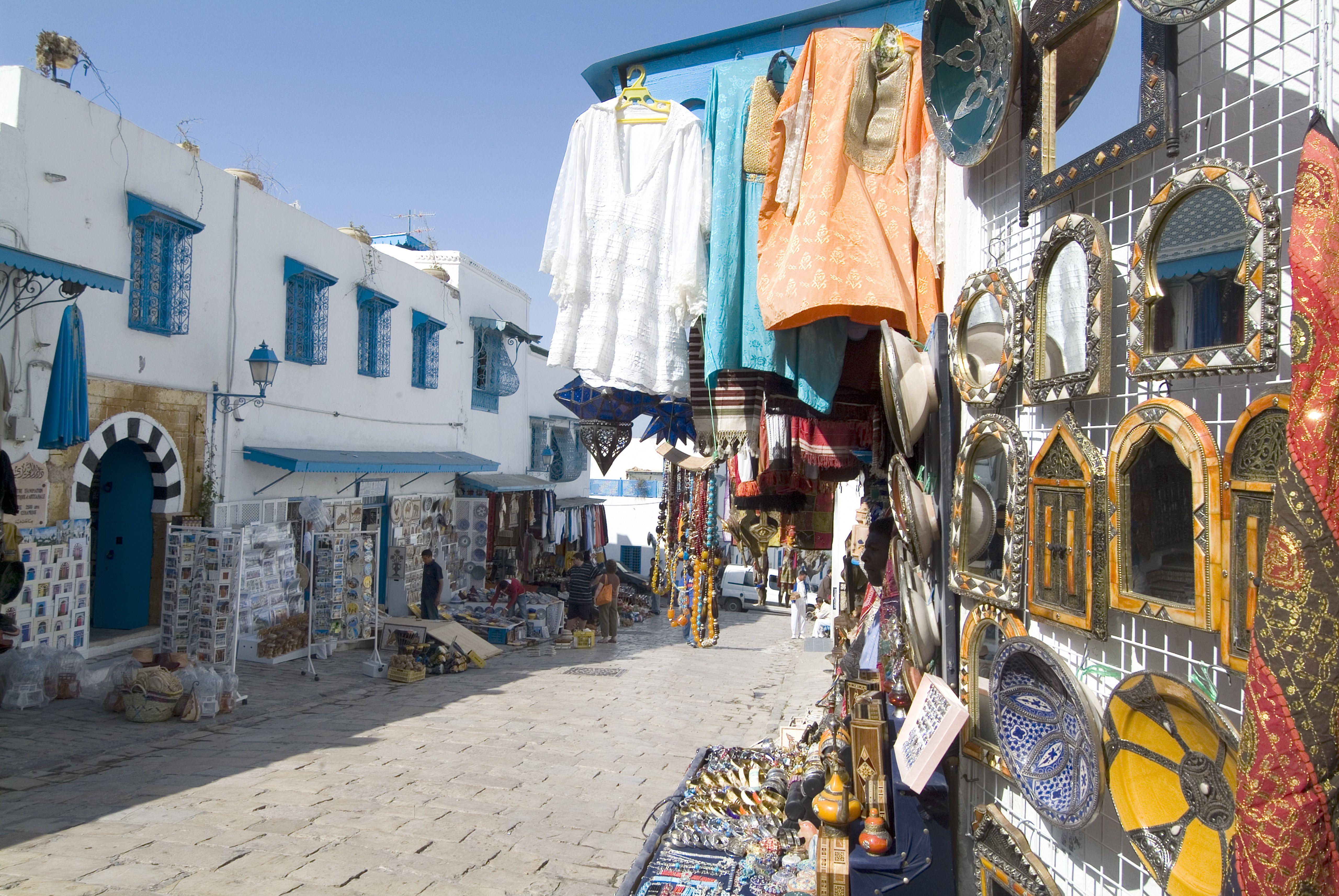 Sidi Bou Said street lined with merchants