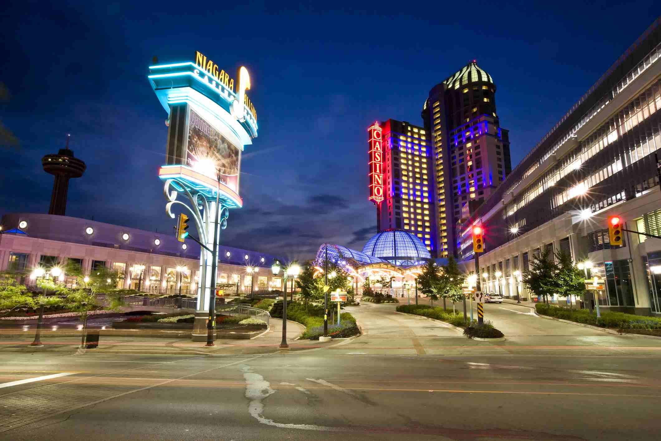 Niagara Falls Casino at night, Ontario, Canada.