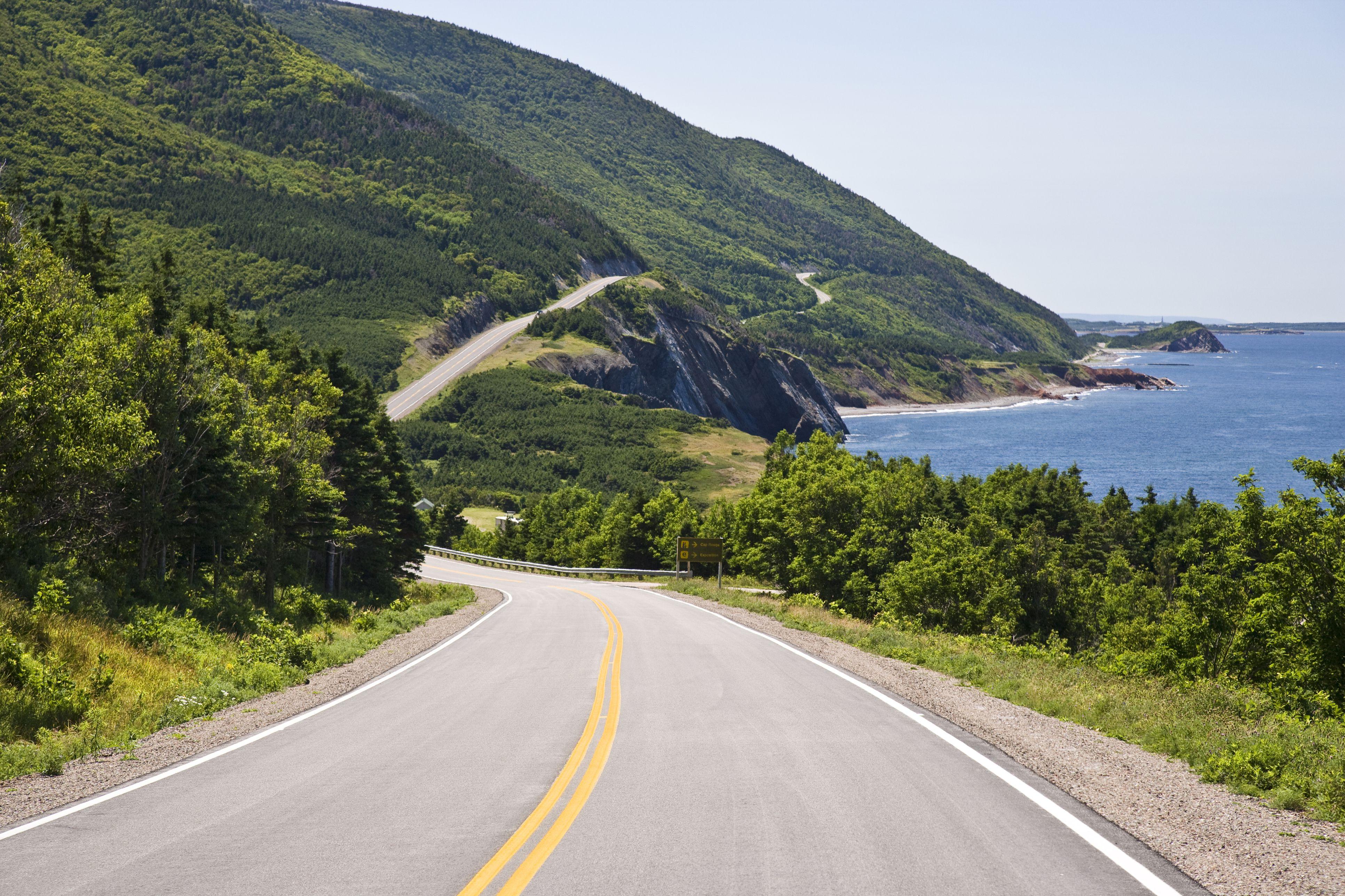 View of Cabot Trail at Cap Rouge, Cape Breton Highlands National Park, Cape Breton Island, Nova Scotia, Canada