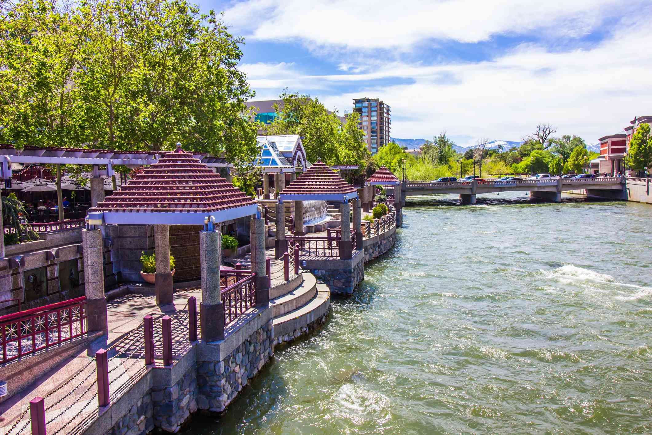 Colorful Pavilions On River Walk On Truckee River In Reno