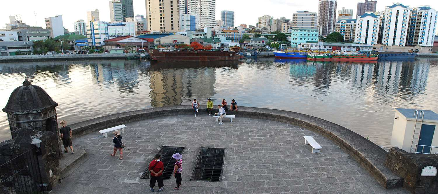 The walls of Fort Santiago overlooking the Pasig River, Manila