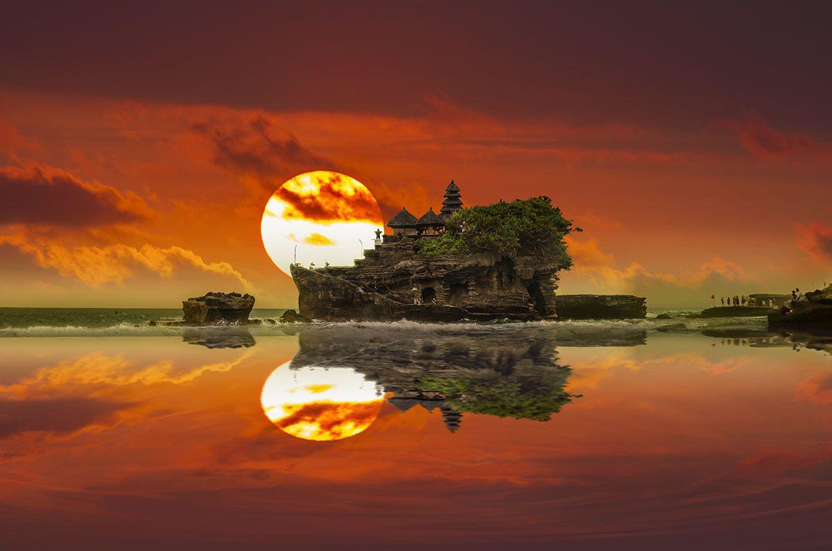 Sunset over Tanah Lot, Bali, Indonesia