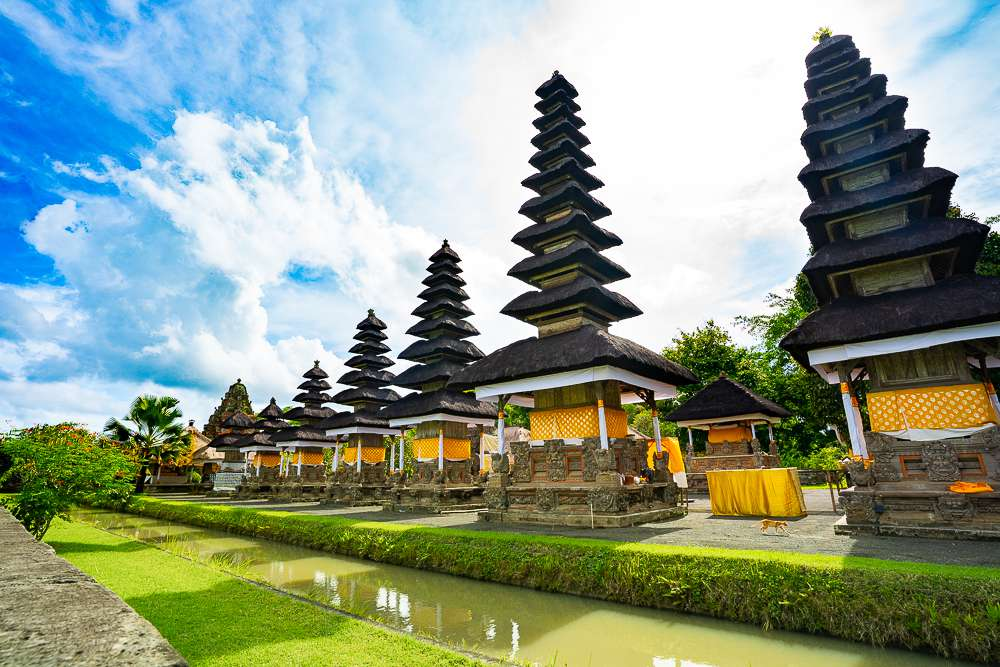 Line of pagodas at a temple in Bali