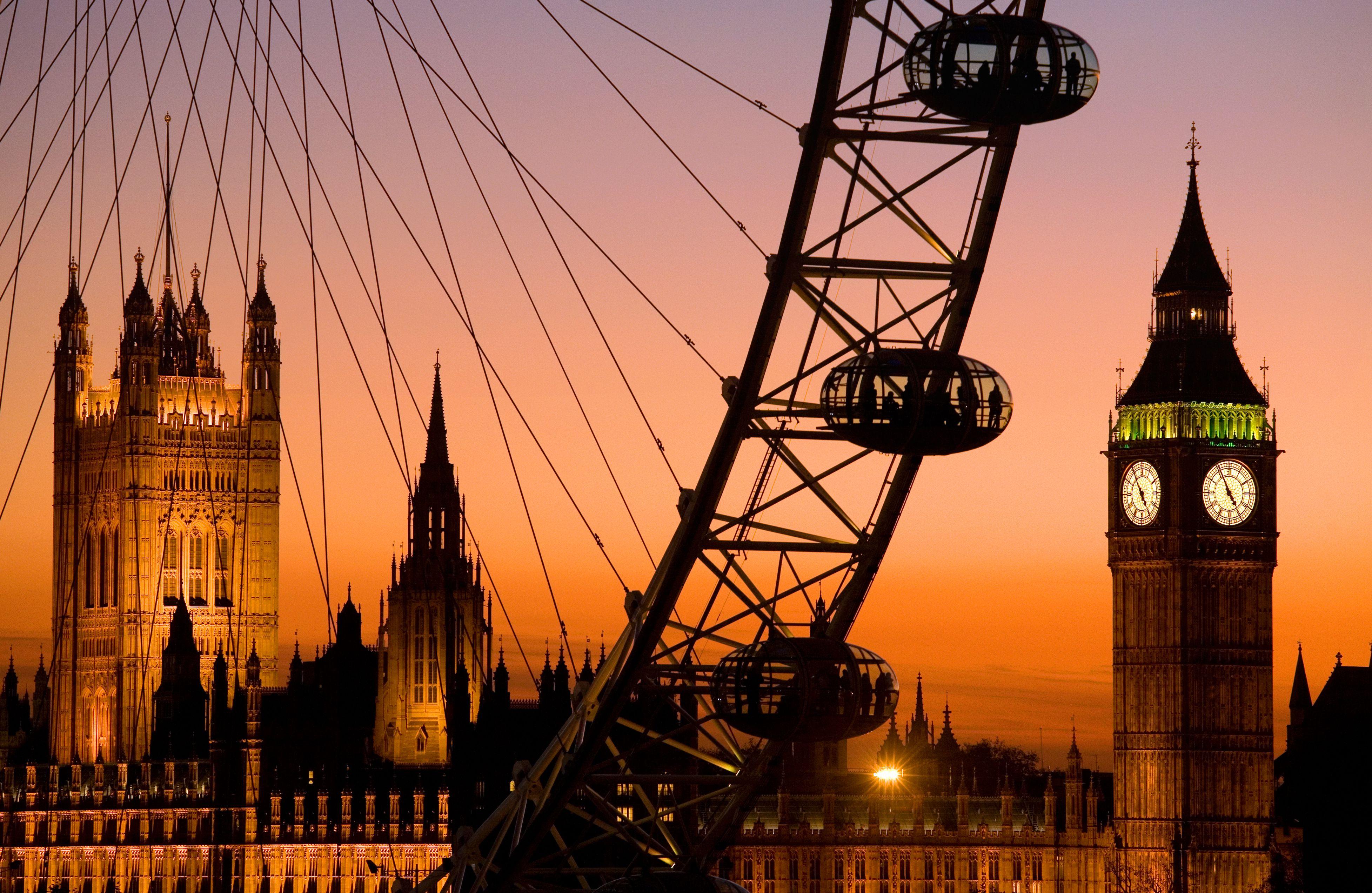 London Eye and Big Ben at dusk, Westminster, London, England