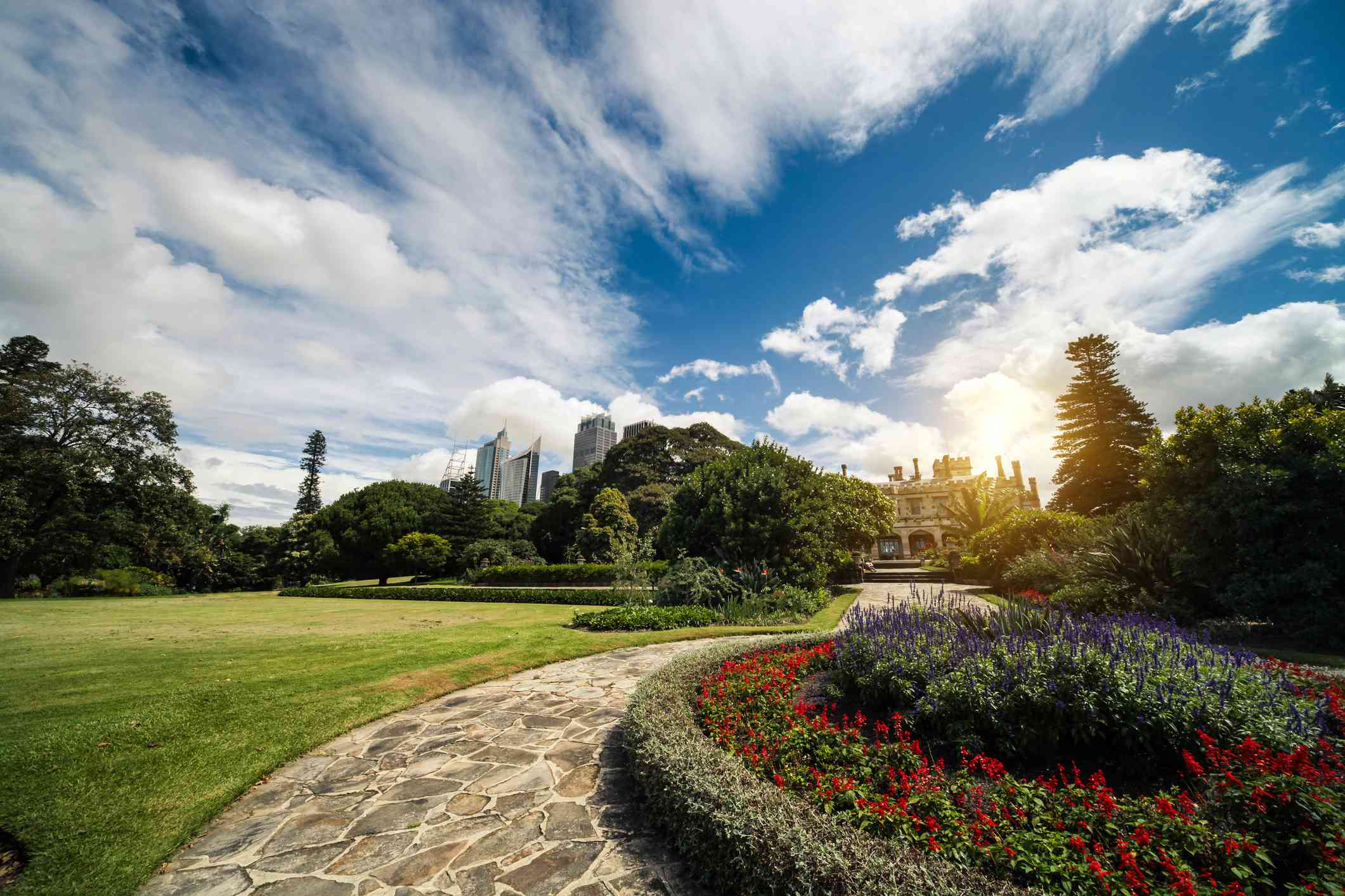 Gardens with city skyline in the background
