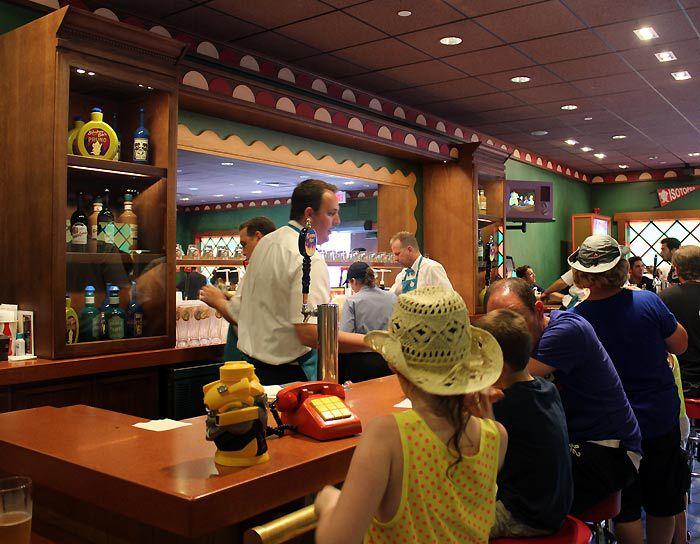 Inside Moe's tavern at Universal Studios.