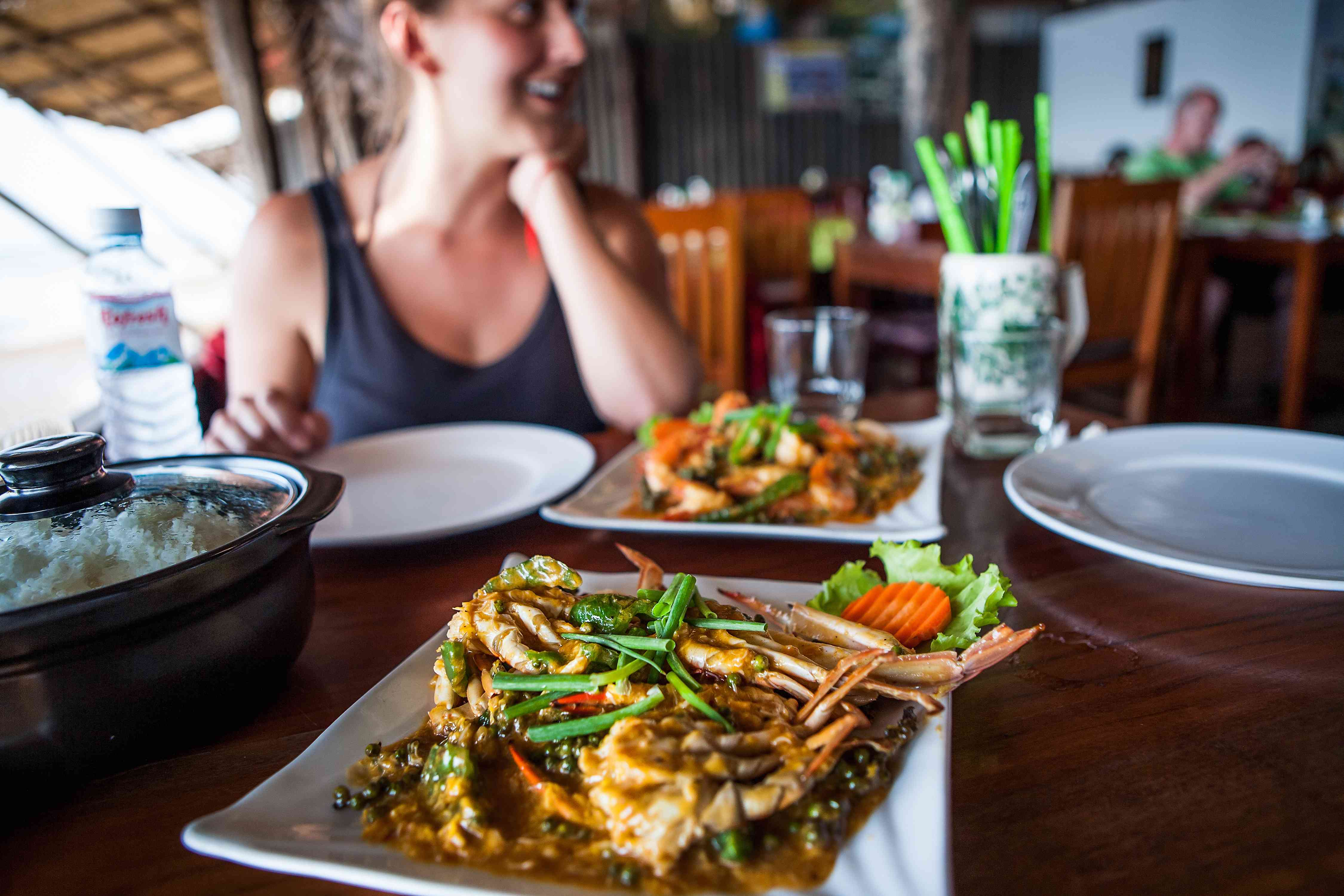 Fresh crab and Cambodian food in a restaurant