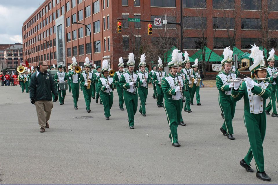 Marching band at the Akron St Patrick's Day parade