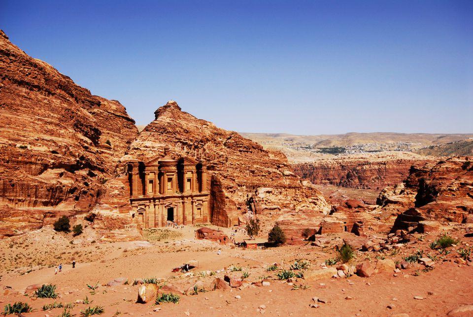 Wide shot of Petra among the desert