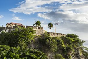 Fort Oranje, Oranjestad, capital of St. Eustatius, Statia, Netherland Antilles, West Indies, Caribbean, Central America