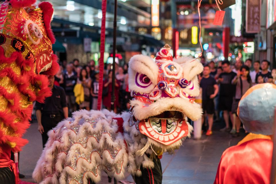 A Chinese lion dance on the street