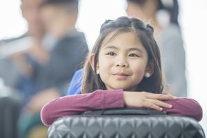 Girl resting on suitcase