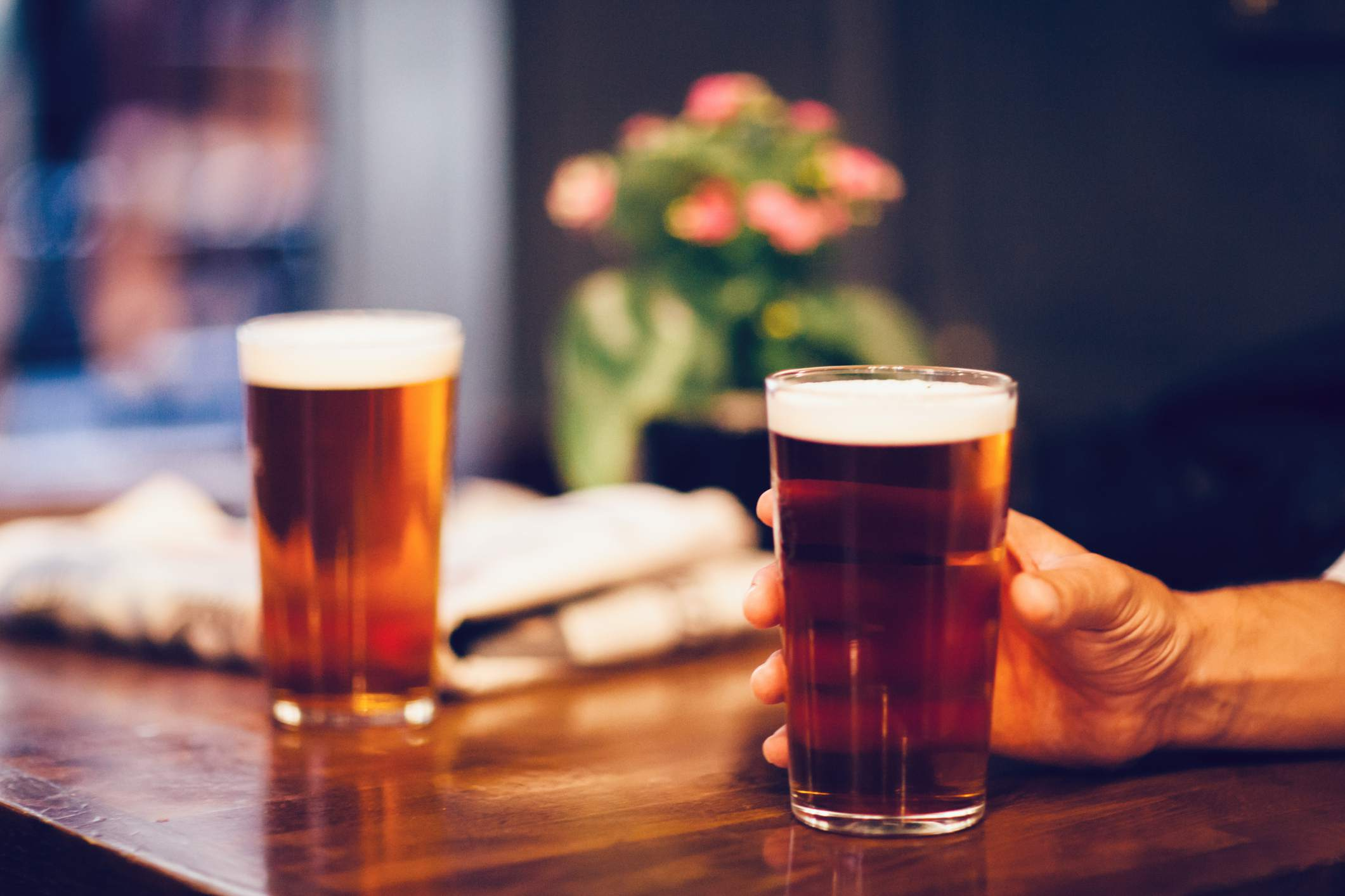 Two beers on a table