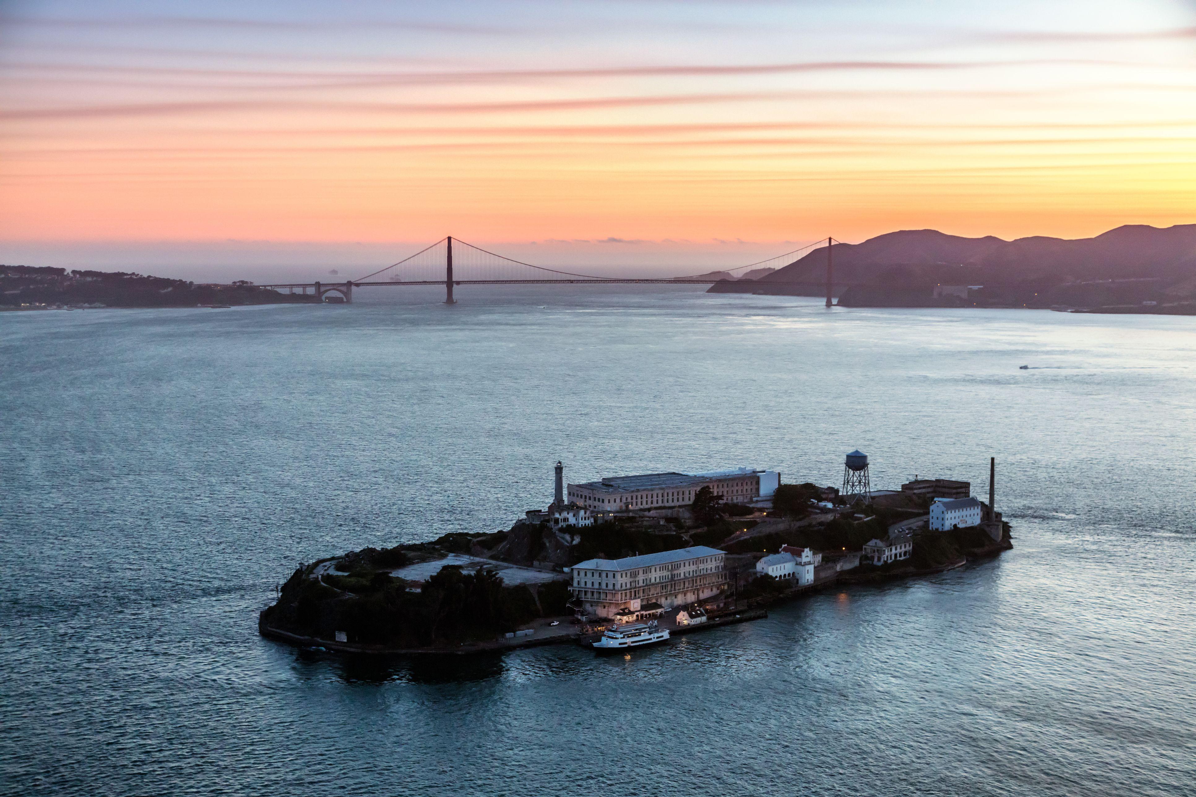 Aerial of Alcatraz at sunset, San Francisco, USA