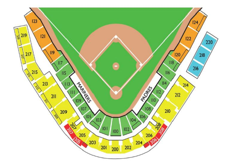 Mariners Stadium Map Mariners & Padres Seating Chart for Peoria Spring Ball