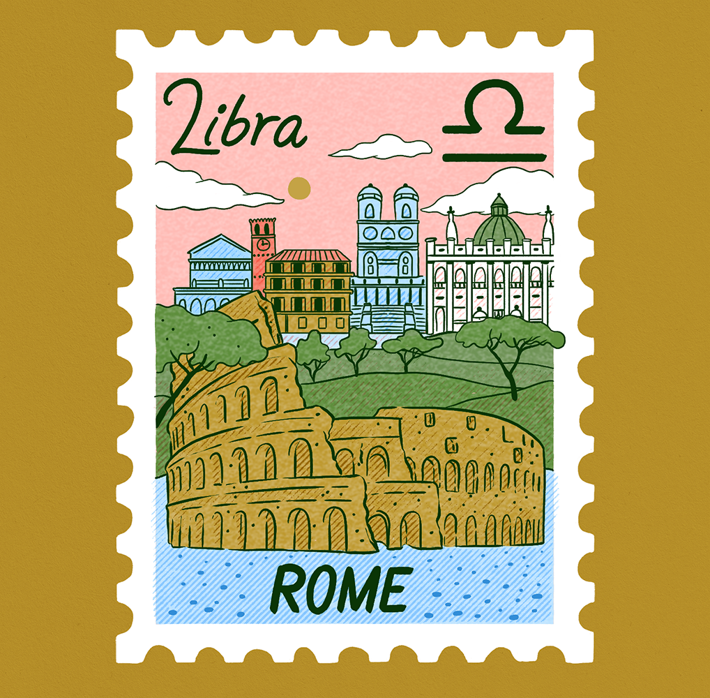 An illustration of a stamp showing a scene of Rome with the colosseum in the foreground and other famous architecture in the background. Libra is written on it.
