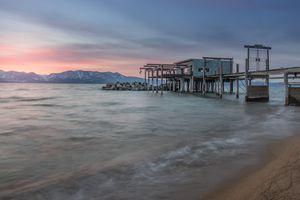 Lake Tahoe Sunset and Snowy Mountain Peaks Taken from Nevada Beach, South Lake Tahoe