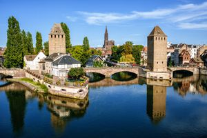 Old fortified towers around the edges of Strasbourg, France