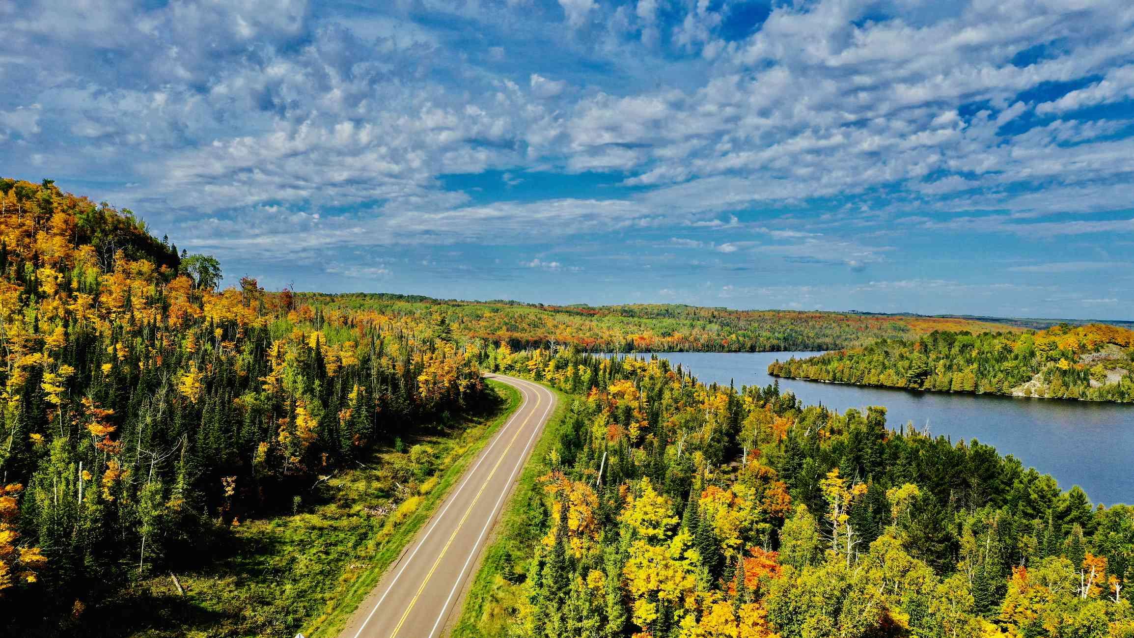 Minnesota Highway in fall foliage, Lutsen