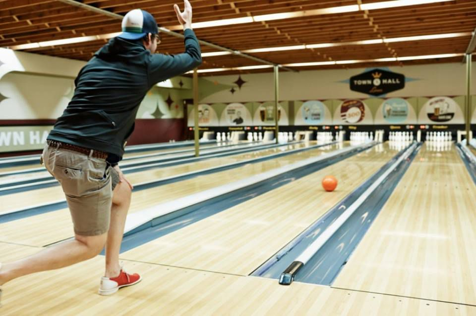 Man bowling at Town Hall Lanes in Minneapolis