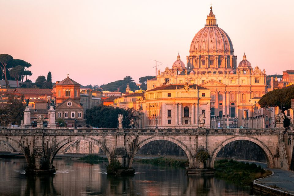 St Peter's Basilica and St. Angelo Bridge, Rome