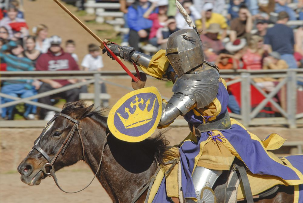 Knight in armor on a horse at the Tennessee Renaissance Festival
