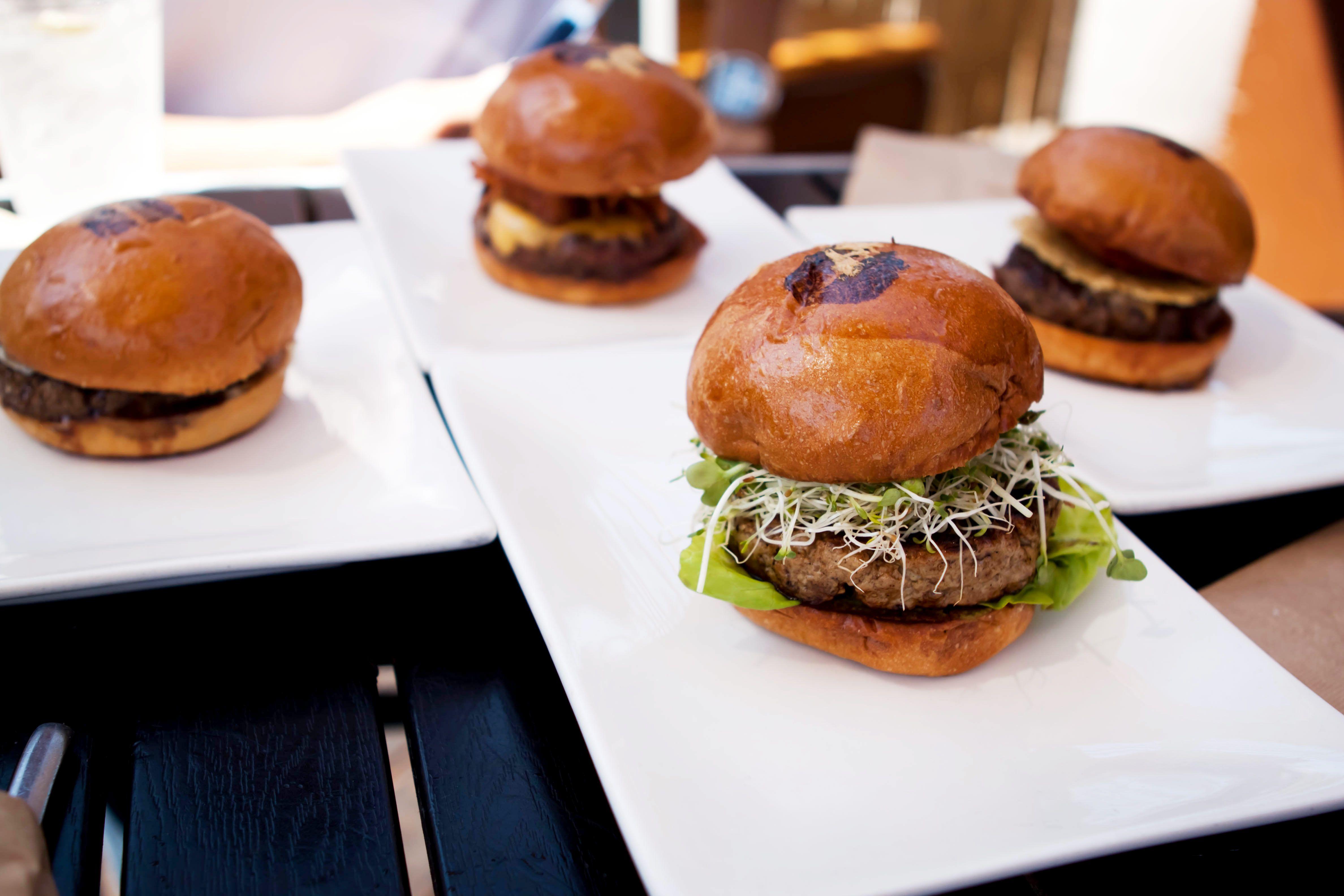 Umami Burgers on plates