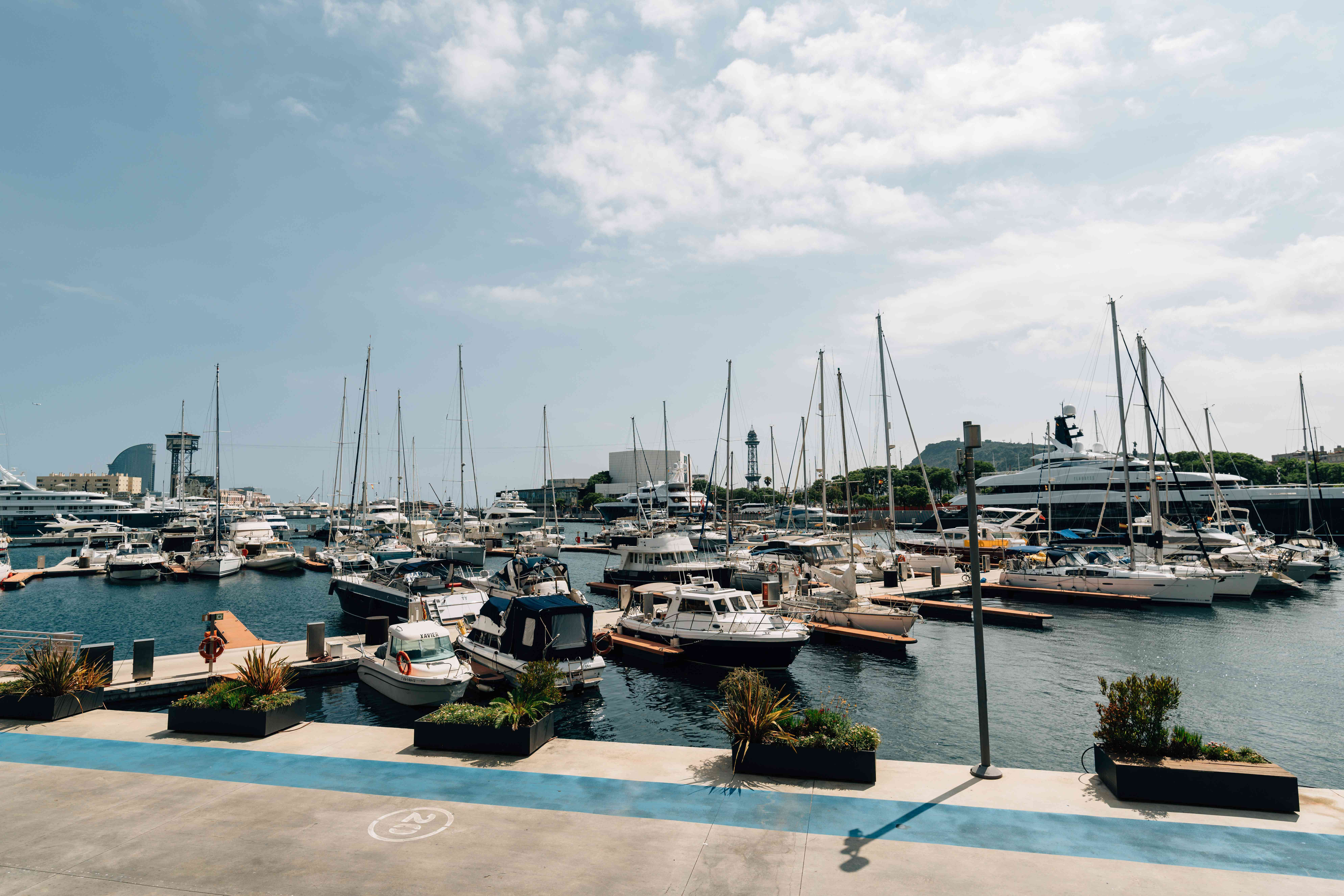 Boats docked at Port Vell