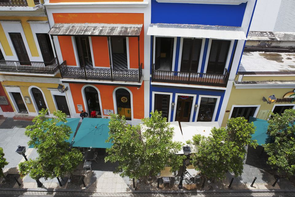 High angle view of sidewalk cafes along a road, Old San Juan, San Juan, Puerto Rico
