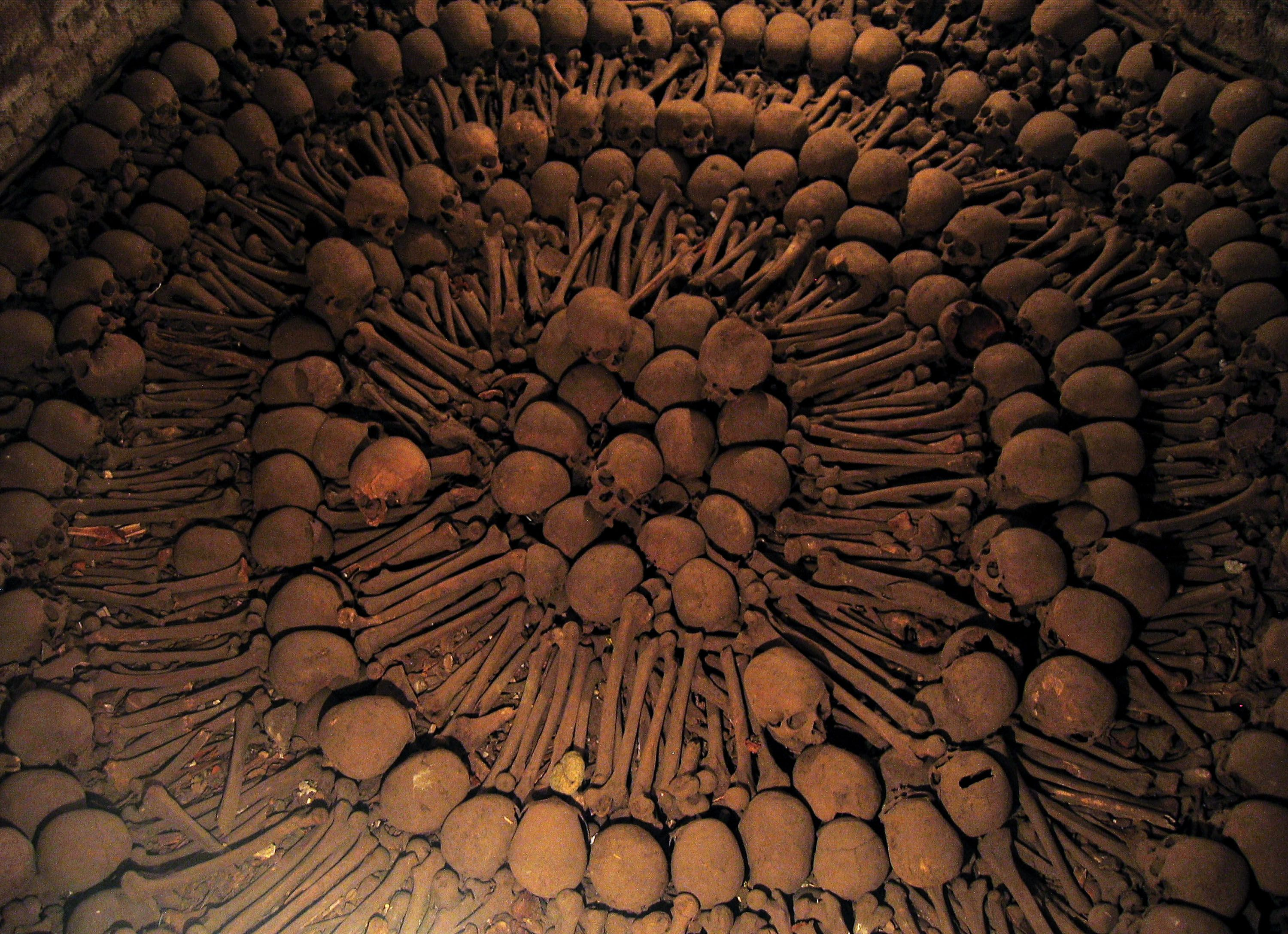 Skulls and bones are arranged in the catacombs beneath the Monastery of San Francisco