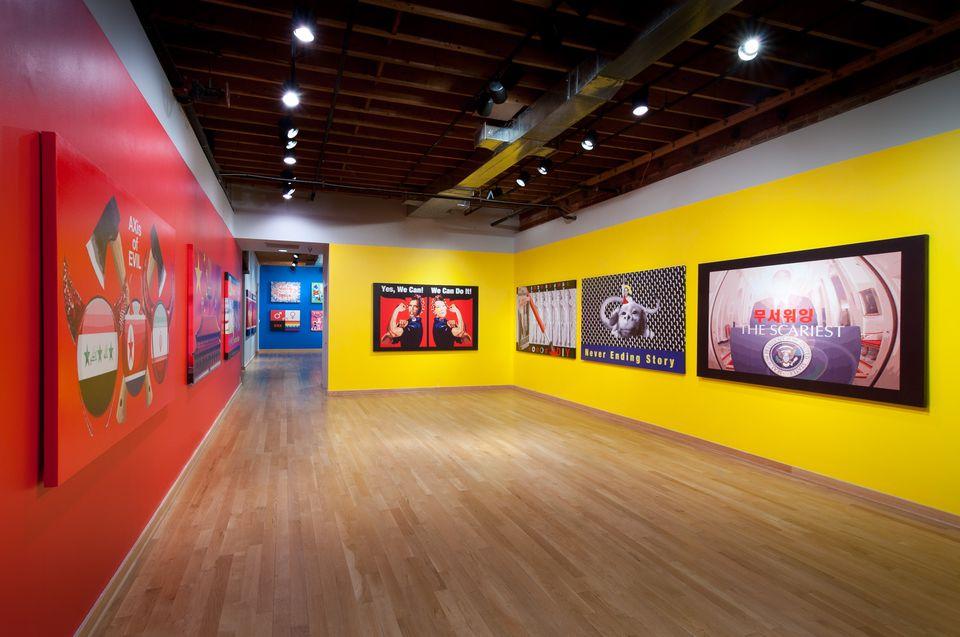 Ilustraciones de la artista Mina Cheon en exhibición en Maryland Art Place, una de las galerías de arte de Baltimore.