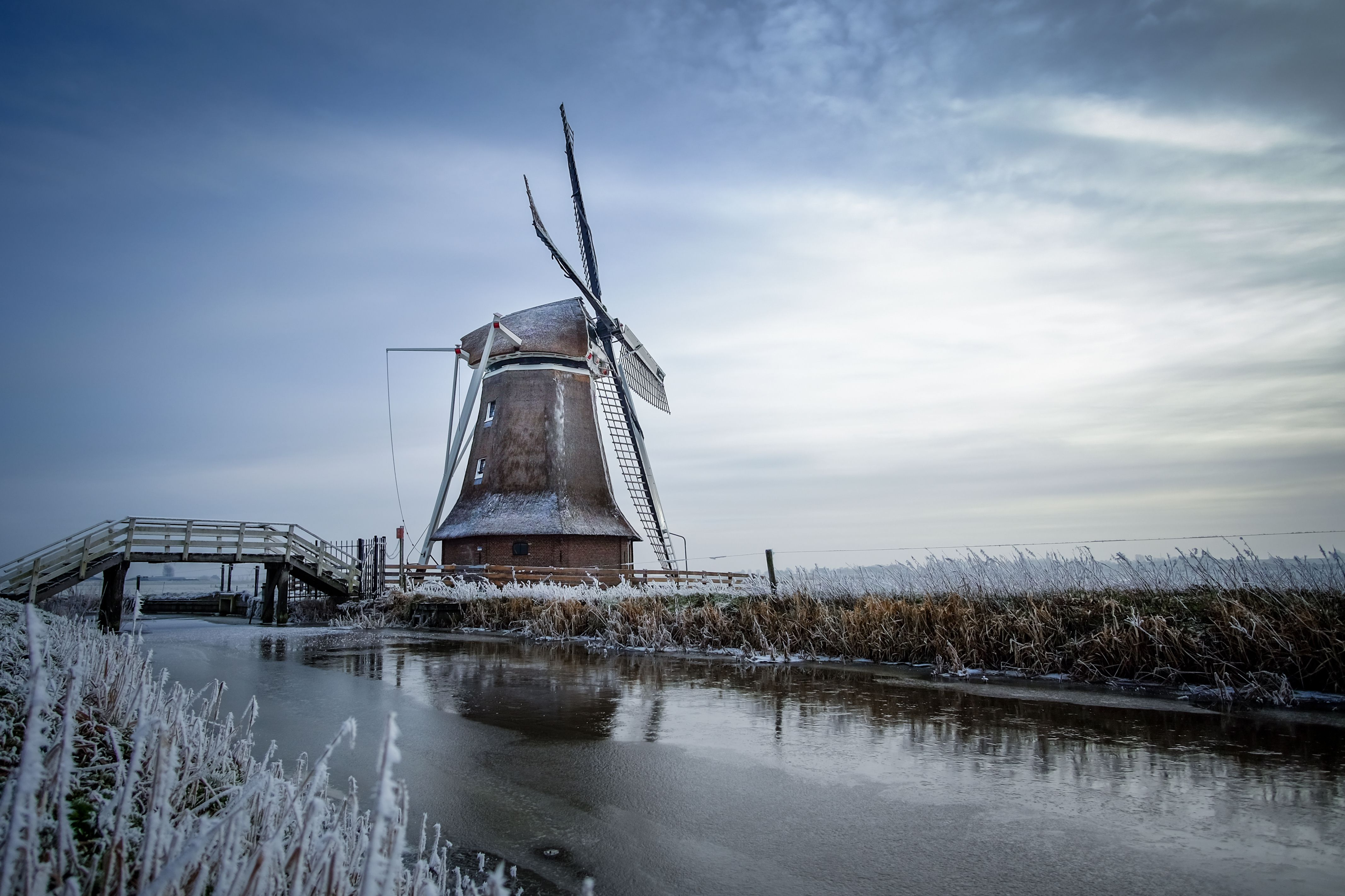 Old windmill in Friesland, the Netherlands