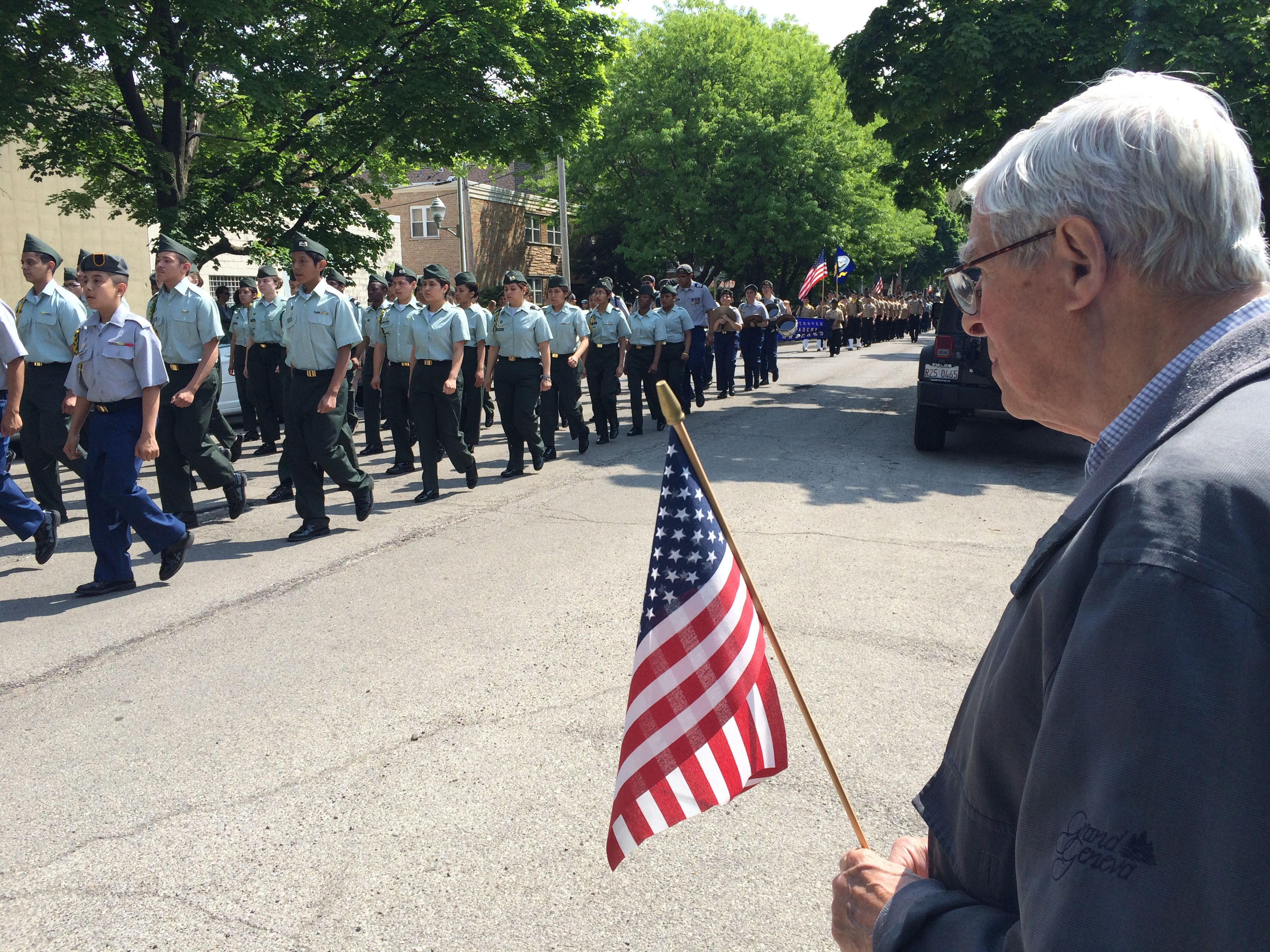 Veteran watching the Ravenswood Memorial Day Parade in Chicago's north side