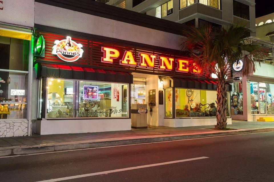 Exterior of Pannes at night