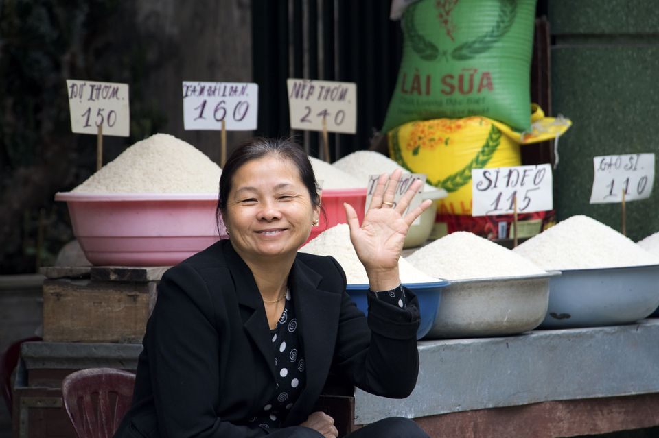 Vienamese woman rice dealer