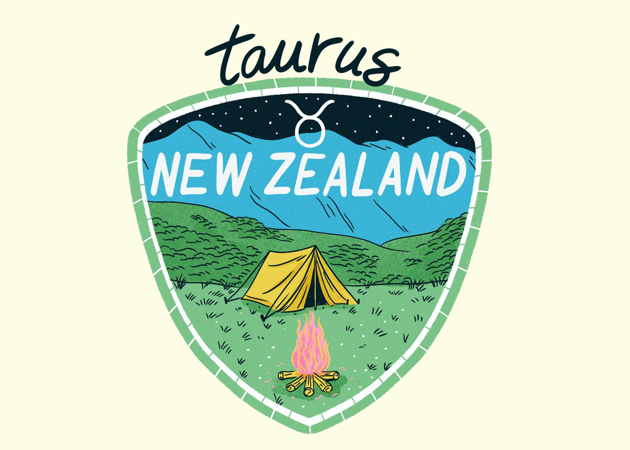 An illustration of New Zealand for Taurus