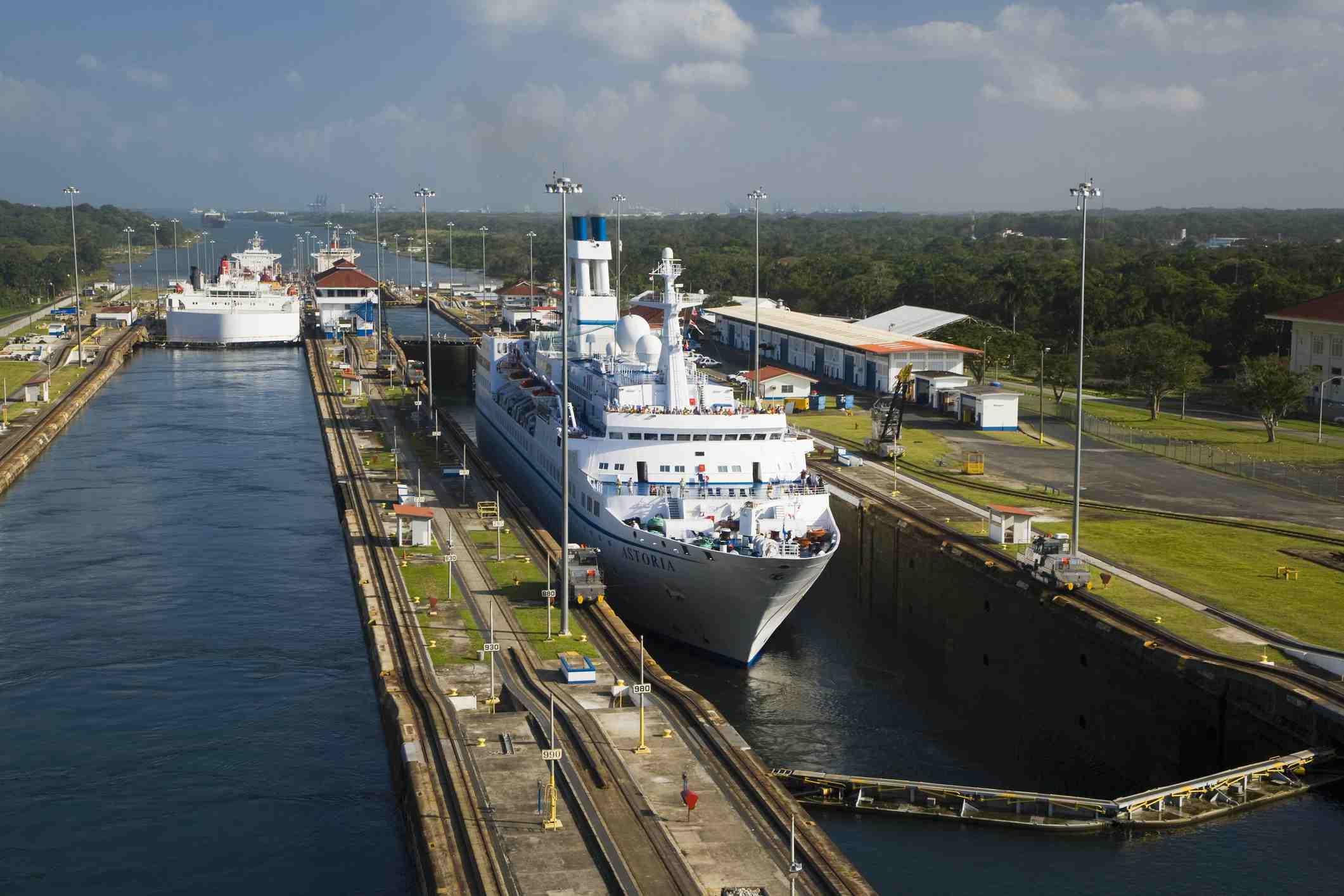 Cruise ship in port in Colon, Panama