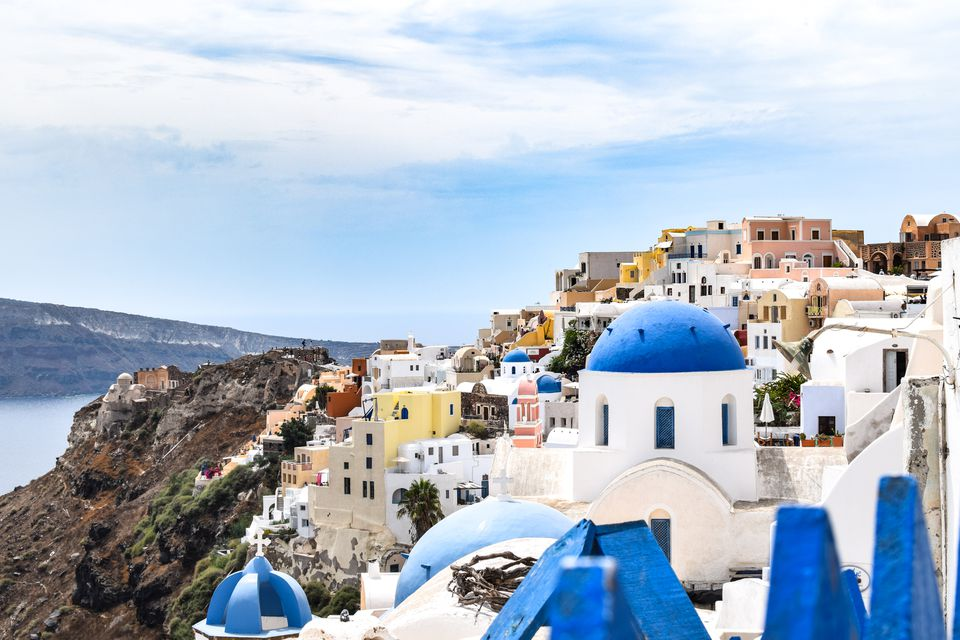 the colorful buildings of Oia