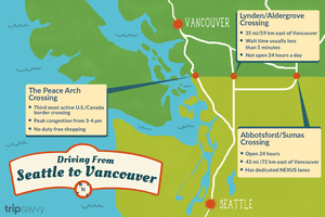 An illustrated map showing the border crossings between seattle and vancouver