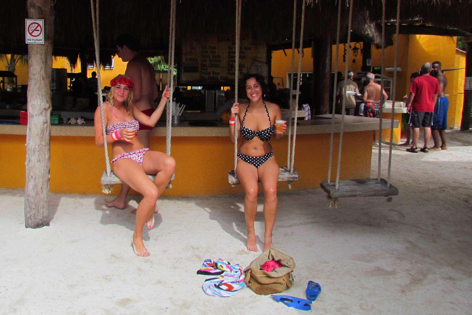 Beach bar swings at Isla Mujeres