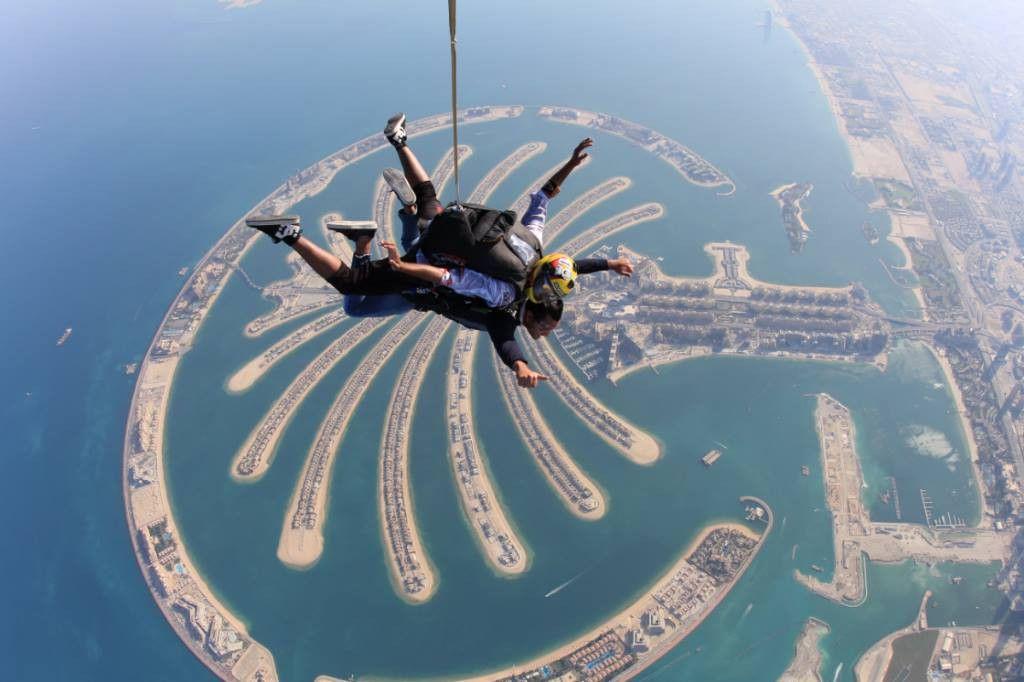 Tandem skydiving over the Palm Jumeirah, Dubai UAE