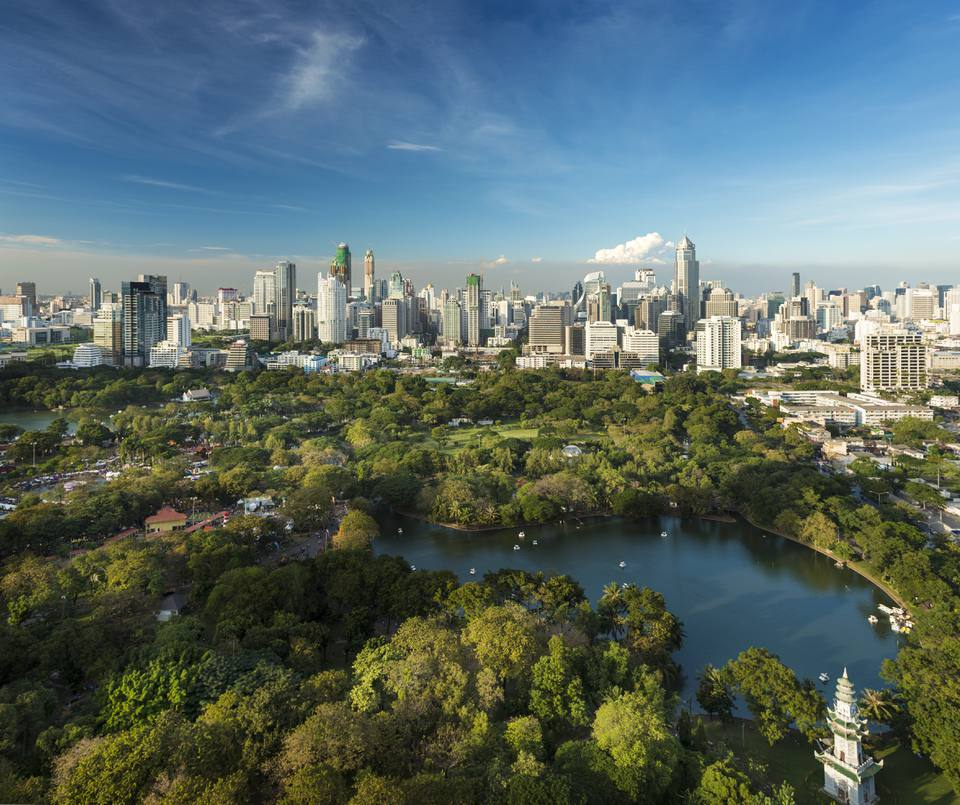 Lumpini Park and the Bangkok skyline