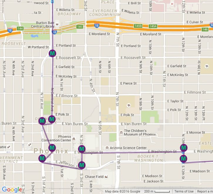Phoenix Light Rail Station Locations and Map