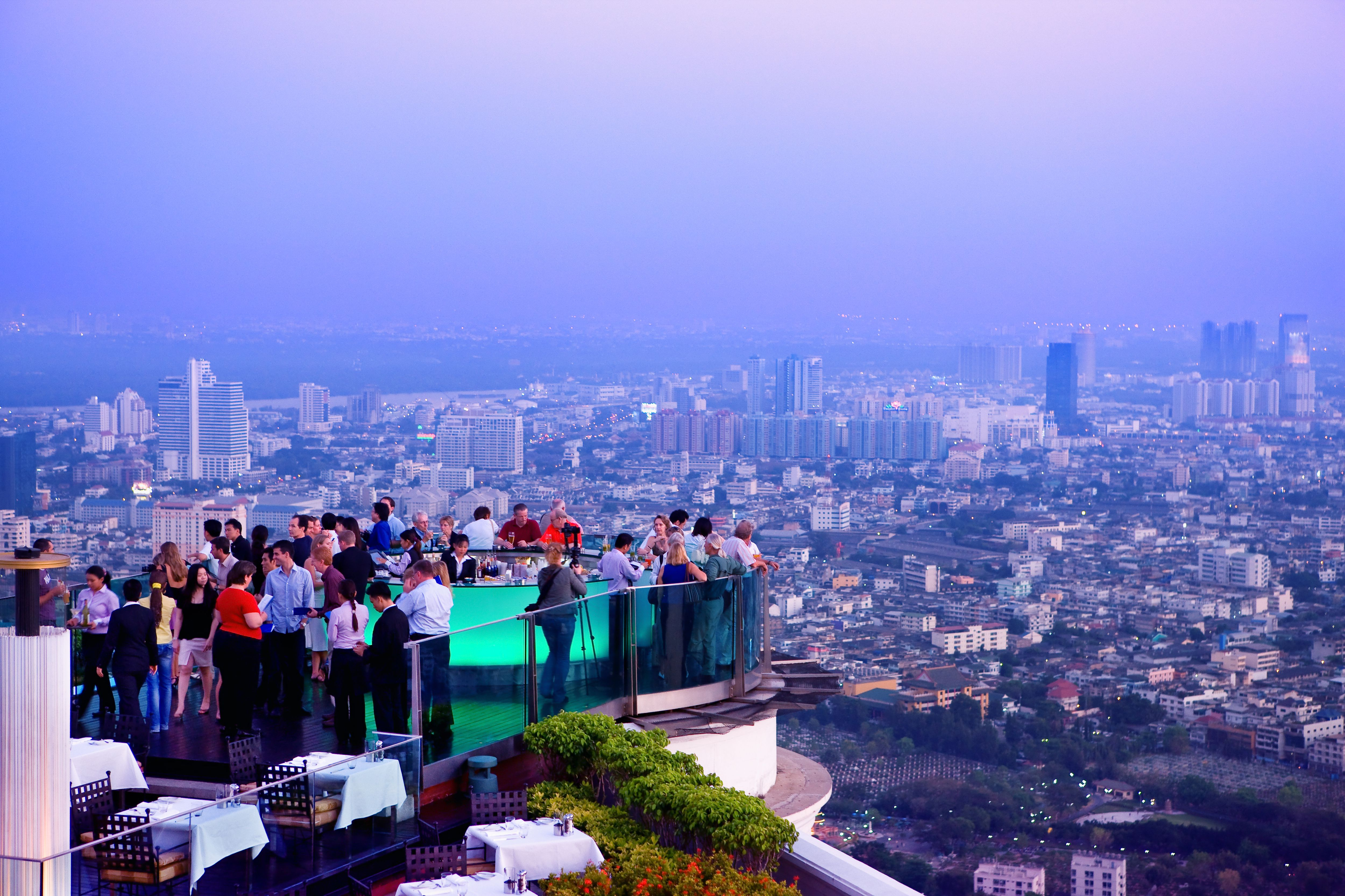 Sunset view from the Sky Bar at Lebua State Tower in Bangkok