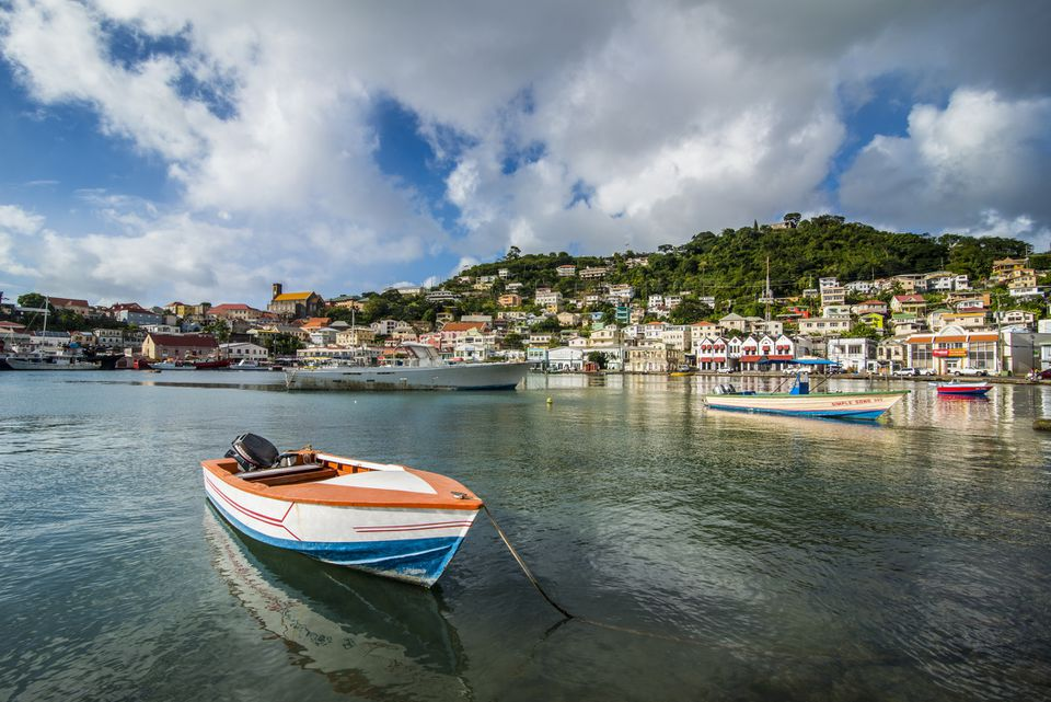 Motorboat in harbor of St Georges, capital of Grenada, Caribbean