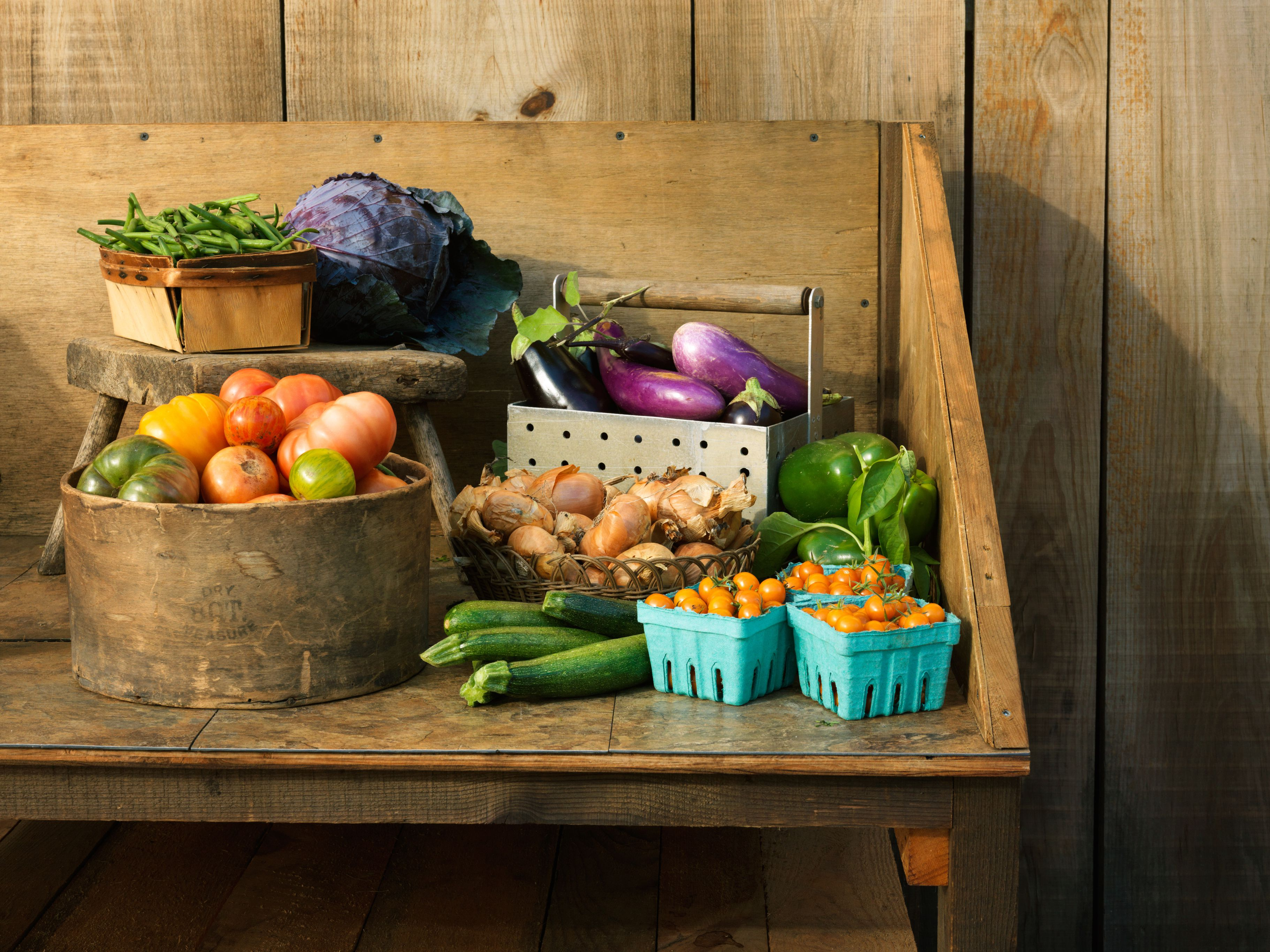 Farmstand display with fresh vegetables