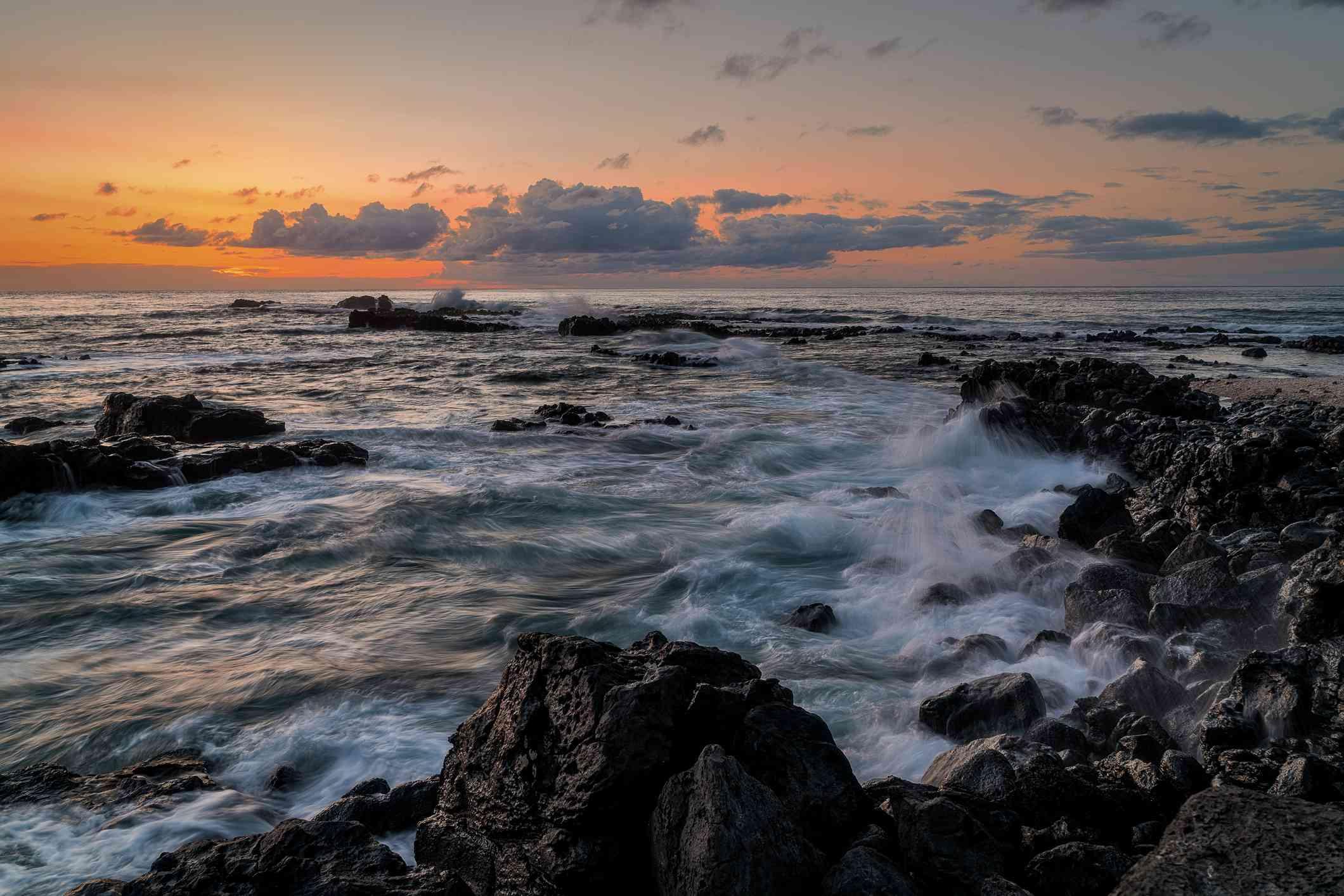 Sunset at Kaena Point on Oahu, Hawaii