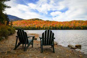 Adirondack Chairs and Fall Foliage in the Adirondacks of New York