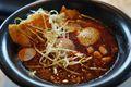 close-up of pozole soup