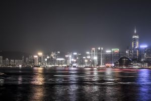 Panoramic of Hong Kong at night